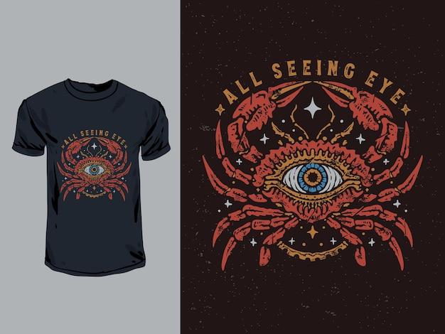 Caranguejo vintage com ilustração de olhos que tudo vêem