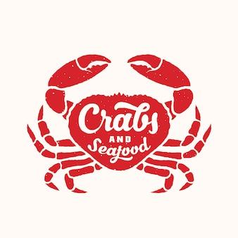 Caranguejos e frutos do mar emblema abstrata ou logotipo modelo com silhueta de caranguejo vermelho e tipografia retrô.