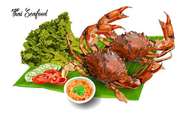 Caranguejos grelhados em frutos do mar tailandeses