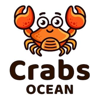 Caranguejos oceano crianças logotipo bonito