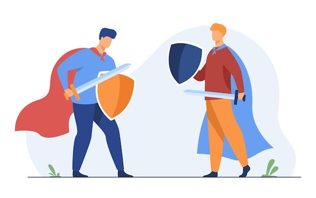 Caras brincando de cavaleiros e lutando. ilustração de desenho animado