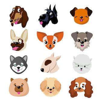 Caras de cão engraçado dos desenhos animados. filhote de cachorro bonito conjunto de vetores de animais