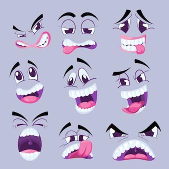 Caras engraçadas dos desenhos animados com diferentes expressões