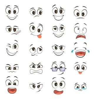 Caras felizes dos desenhos animados com diferentes expressões. ilustrações vetoriais