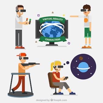 Caras que apreciam óculos de realidade virtual