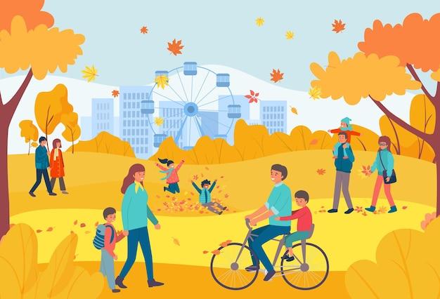 Caráter alegre, pessoas relaxando, caminhada no parque nacional de outono laranja
