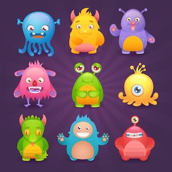 Caráter alienígena engraçado de monstros bonito dos desenhos animados conjunto ilustração vetorial isolado