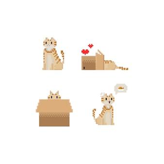 Caráter amarelo bonito do gato do pixel.