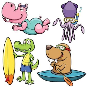 Caráter animal do esporte de água dos desenhos animados