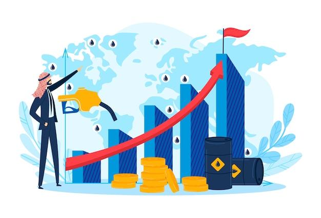 Caráter árabe de sucesso, crescimento do negócio de petróleo árabe para o empresário árabe, ilustração. pessoas adultas perto de gás, gráfico de financiamento de combustível. símbolo de personagem de pessoa bem sucedida, indústria plana.