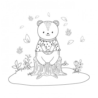 Caráter bonito da floresta do urso