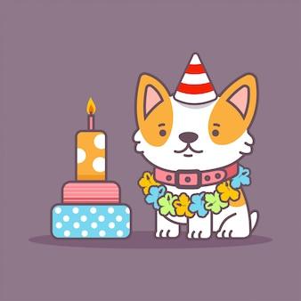 Caráter bonito do animal de estimação dos desenhos animados do vetor do cão do corgi com o bolo isolado no fundo.
