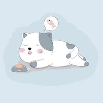 Caráter bonito do animal do esboço do sono do gato dos desenhos animados