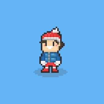 Caráter bonito do menino do pixel no pano do inverno com fundo isolado. 8 bits