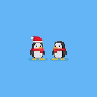 Caráter bonito do pinguim dois do pixel que veste o lenço vermelho