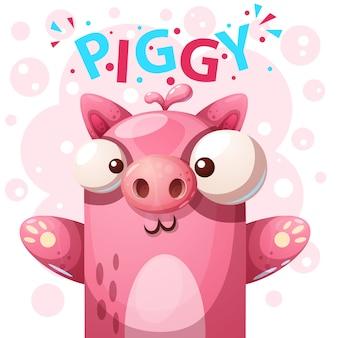 Caráter bonito do porco - ilustração dos desenhos animados.