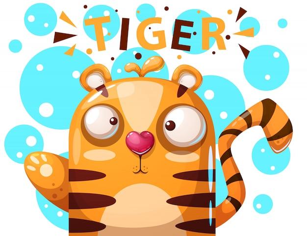Caráter bonito do tigre - ilustração dos desenhos animados.
