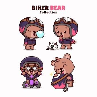 Caráter bonito do urso de biker usando capacete e casaco em algumas ações diferentes Vetor Premium