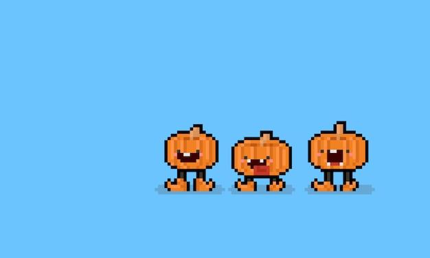 Caráter da abóbora dos desenhos animados da arte do pixel com pés. 8 bits dia das bruxas.