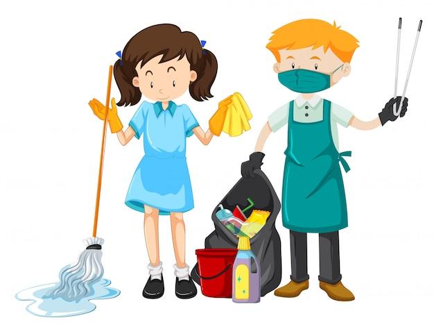 Caráter da equipe de limpeza com equipamento