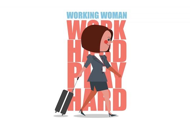 Caráter da maleta de trabalho da mulher. pessoas de negócios projetam estilo plano