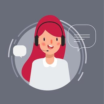 Caráter da mulher de negócios no trabalho do centro de chamadas para a animação.
