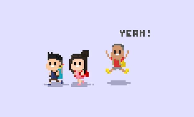 Caráter das crianças do pixel. volta ao school.8bit.