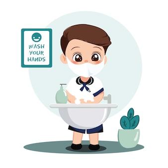 Caráter de alunos menino lavando as mãos com sabão sob água corrente. covid preventivo no cenário escolar.