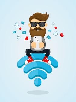Caráter de cara jovem sentado no emblema de wi-fi e usando o smartphone para internet. internet grátis, hotspot, rede. ilustração plana. enviar uma mensagem via chat do smartphone
