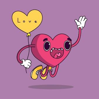 Caráter de coração com balão de coração amarelo