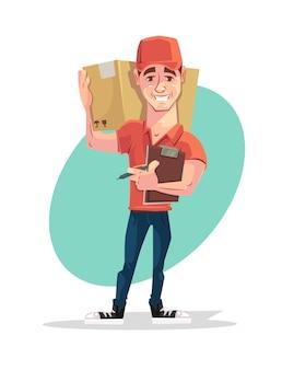 Caráter de correio entregador segura a caixa.