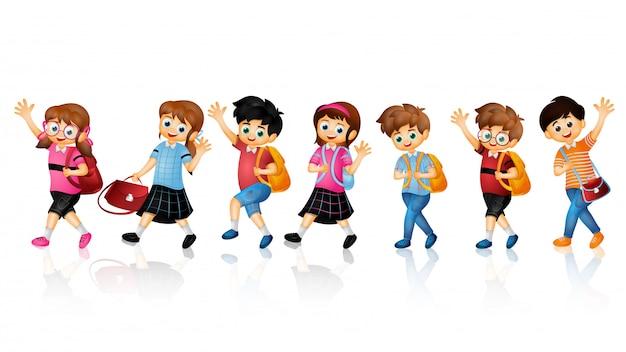 Caráter de crianças de escola.