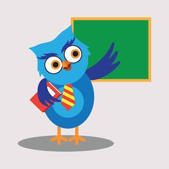 Caráter de desenho bonito da coruja do professor