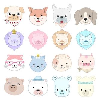 Caráter de desenhos animados de animais bebê fofo conjunto ilustração