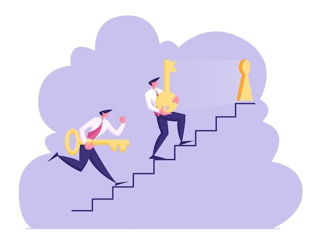 Caráter de dois homens de negócios carregando chaves douradas pesadas no andar de cima