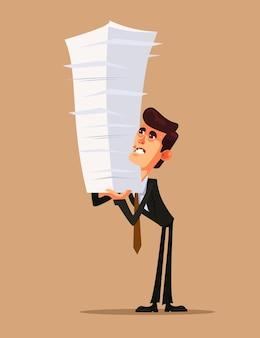 Caráter de empresário trabalhador de escritório infeliz segurando grande pilha pilha estoque papel documento trabalho. ilustração isolada dos desenhos animados do conceito de trabalho duro