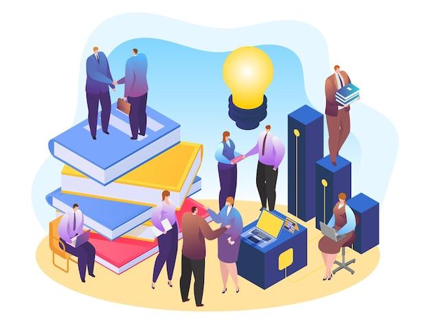 Caráter de empresários trabalhar em equipe, negócio criativo brainstorm lâmpada ilustração vetorial isométrica 3d, isolada no branco.