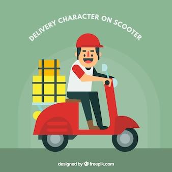 Caráter de entrega de smiley em scooter Vetor grátis