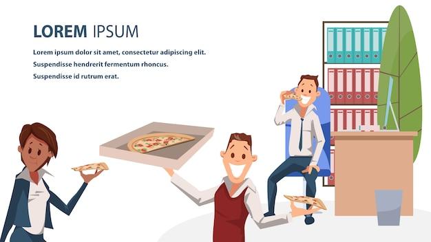 Caráter de escritório com banner de horário de almoço pizza