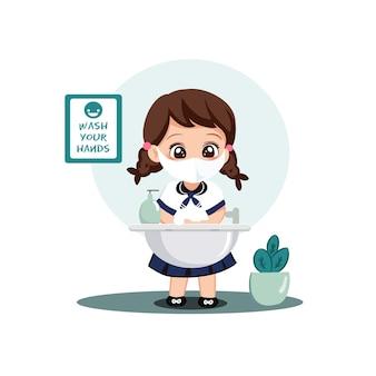 Caráter de estudantes de menina lavando as mãos com sabão sob água corrente. covid preventivo no cenário escolar.