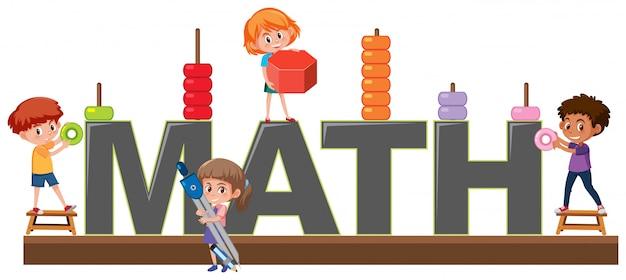Caráter de estudantes no logotipo de matemática