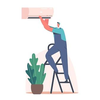 Caráter de faz-tudo de serviço de reparo consertando o condicionador quebrado em casa ou no escritório. marido por uma hora consertar técnicas quebradas