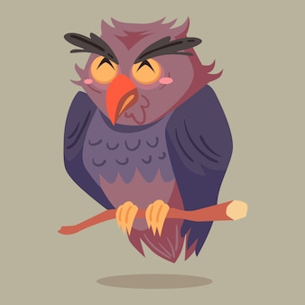 Caráter de halloween de ilustração vetorial coruja