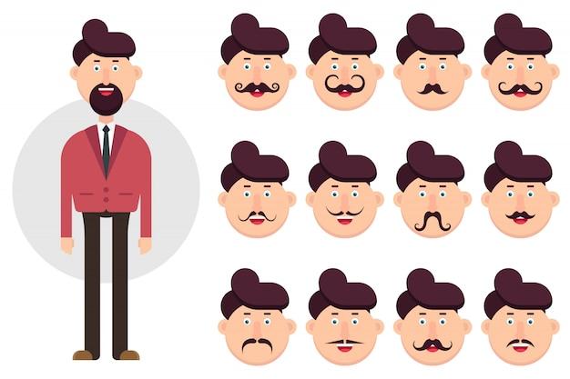 Caráter de homem com diferentes tipos de ilustração de bigode