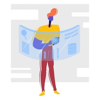 Caráter de homem com tela de toque digital / conexão de rede global