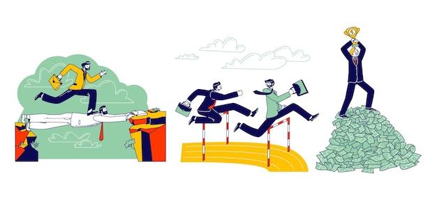 Caráter de homem de negócios de carreira correndo sprint race no estádio saltando sobre a barreira. empresário andar sobre a cabeça do colega, ficar em cima da pilha de dinheiro com a taça. ilustração em vetor de pessoas lineares