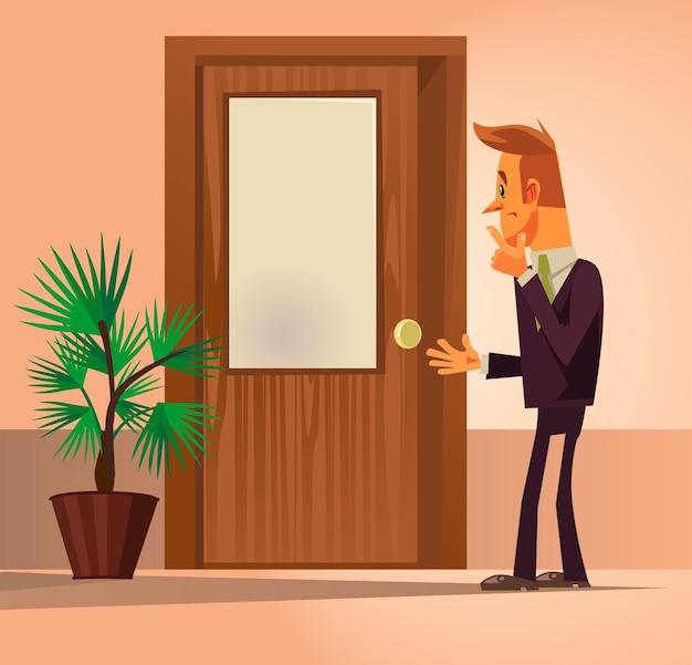Caráter de homem de trabalhador de escritório de confusão em pé perto de porta fechada e pensando.