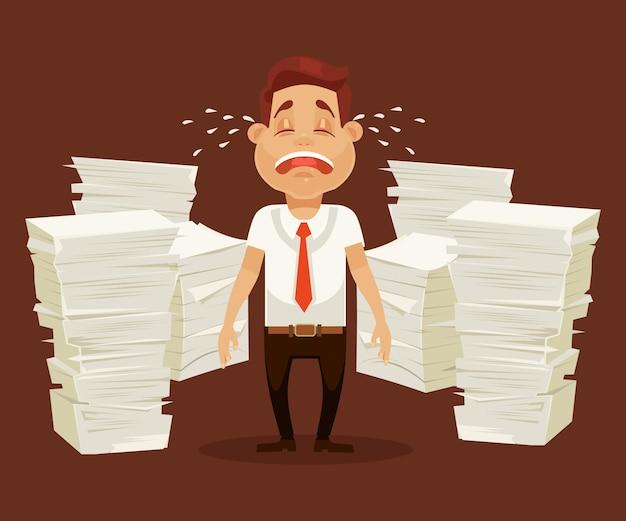 Caráter de homem ocupado chora lágrimas e grita. ilustração plana dos desenhos animados