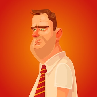 Caráter de homem trabalhador de escritório triste.