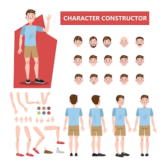 Caráter de jovem bonito definido para animação com vários pontos de vista, penteados, emoções, poses e gestos. ilustração